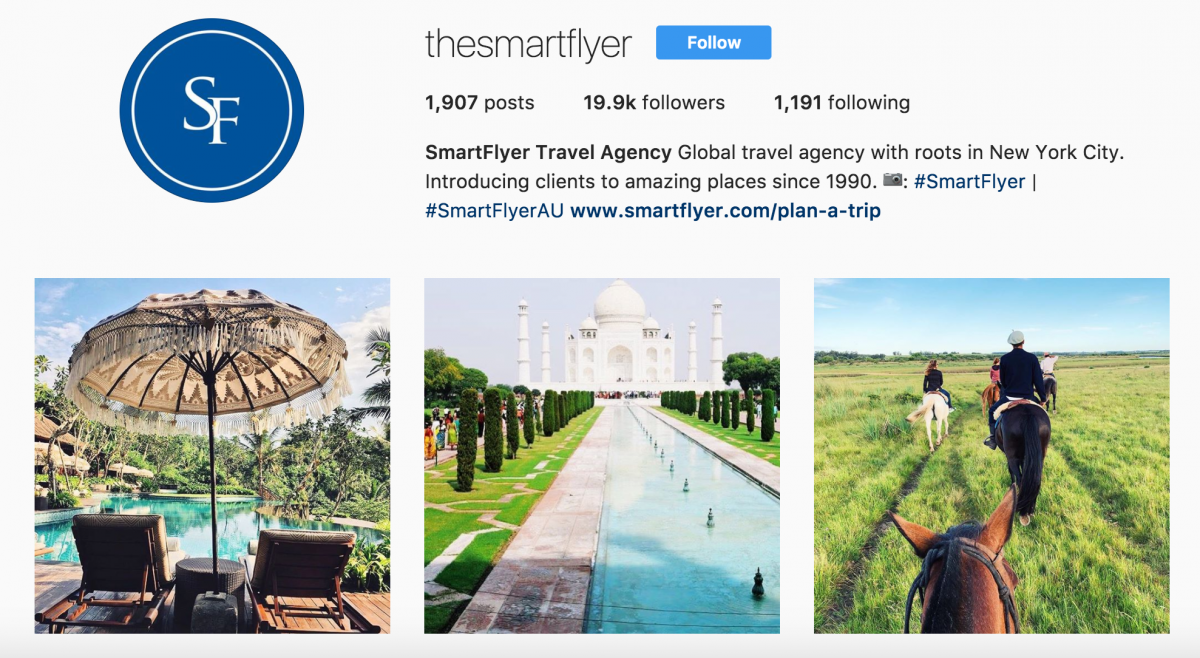smartflyer instagram marketing for travel agents